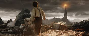 Frodo takes steps in Mordor towards the eye of Sauron in the film Lord of the Rings return of the King